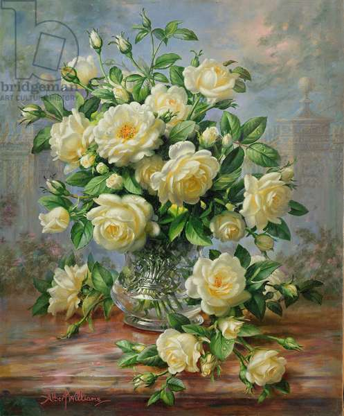 Princess Diana Roses in a Cut Glass Vase (oil on canvas)