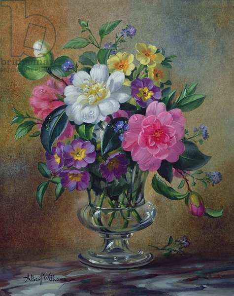 AB/217 Forget-me-nots and primulas in glass vase