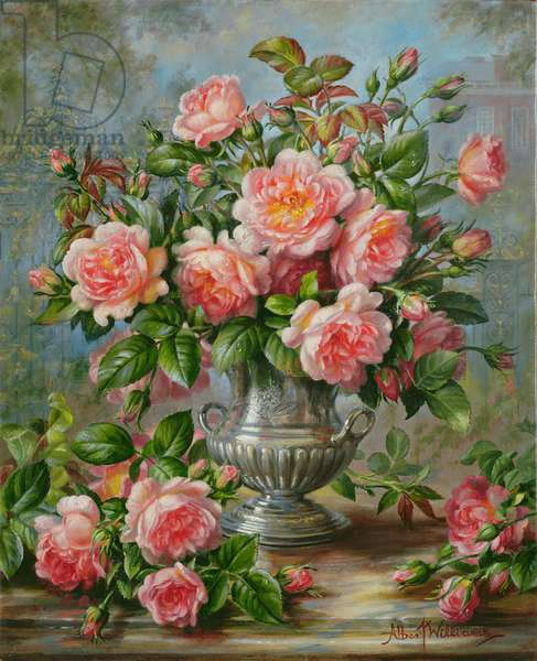 English Elegance Roses in a Silver Vase (oil on canvas)