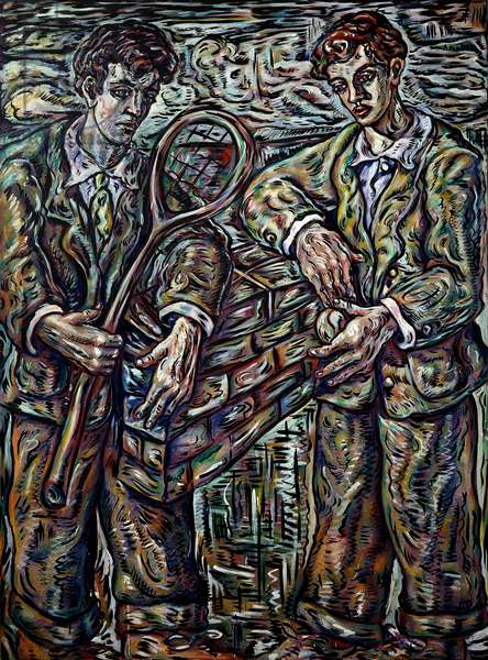 Tennis Players, 1990 (oil on canvas)
