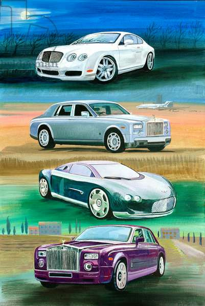 Rollers And Bentleys, 2008 (oil on panel)