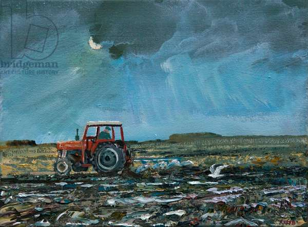 Evening Ploughing (oil on canvas)