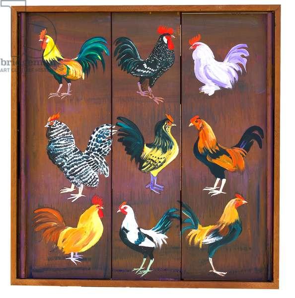 Nine Bantam Cockerels, 2019 (oil on panels)