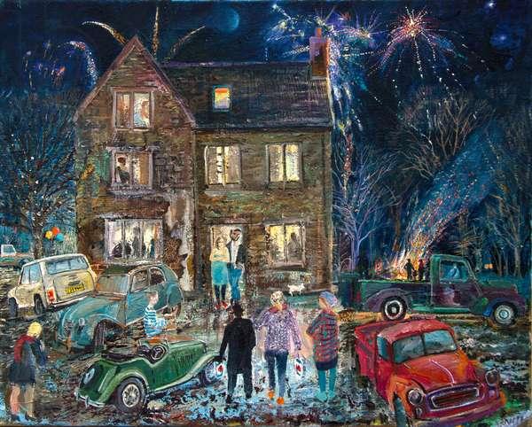 Bonfire Party (oil on canvas)