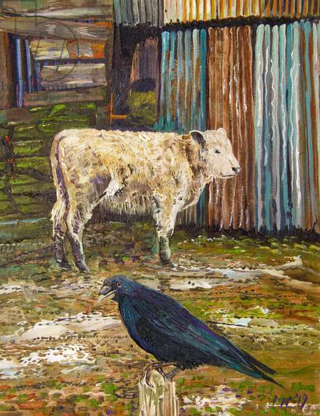 Calf and Crow, 2019 (oil on canvas on board)
