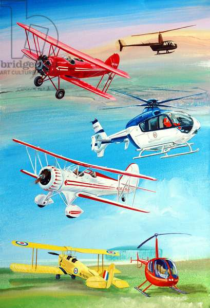 Helicopters And Biplanes, 2010 (oil on panel)