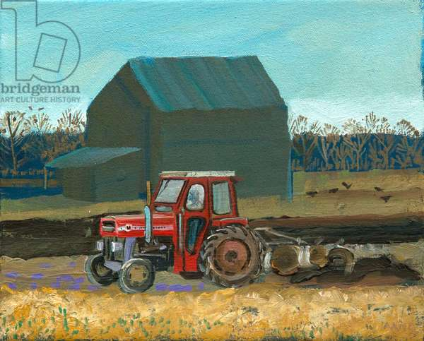 Ploughing (oil on canvas)