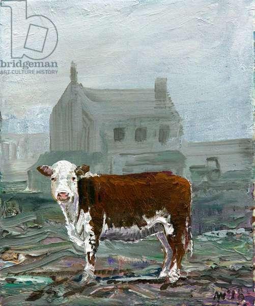 winter calf (oil on canvas)