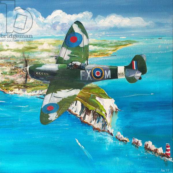 Spitfire over the Needles, 2019 (oil on canvas)