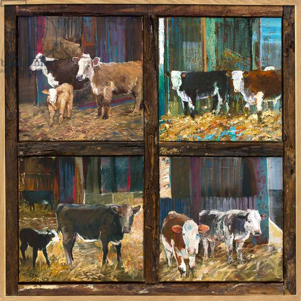 Cows and Calves, 2019 (oil on canvas and oak beams)