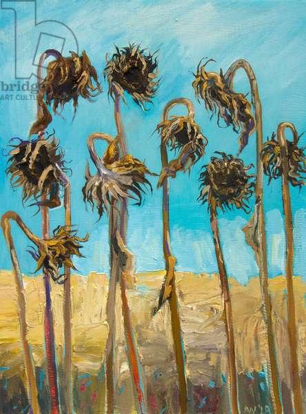 Nine Sun Flowers (oil on canvas)
