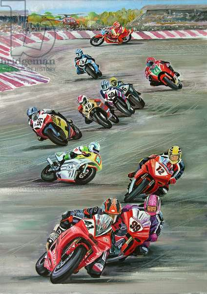 Racing Motorcycles, 2006 (oil on panel)