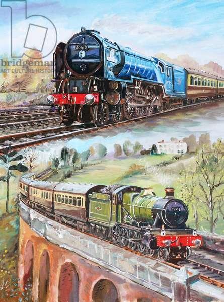 Steam Trains, 2011 (oil on panel)