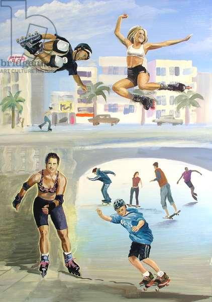 Skaters, 2008 (oil on panel)