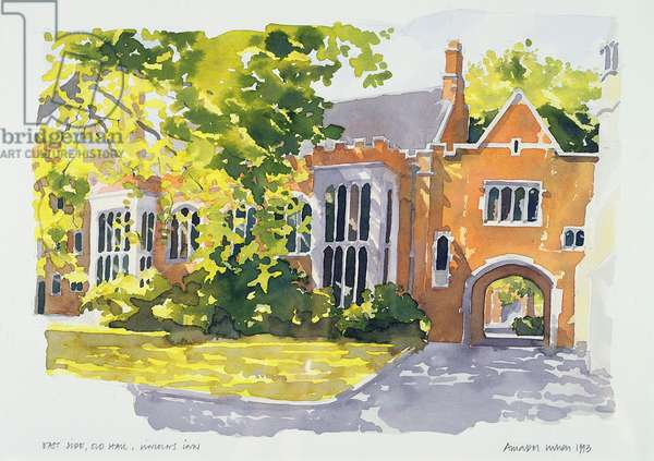 East Side, Old Hall, Lincoln's Inn, 1983 (w/c on paper)