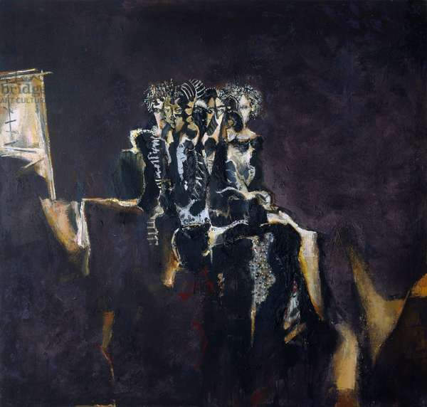 Seated Woman, 1989-1990 (acrylic collage on canvas)