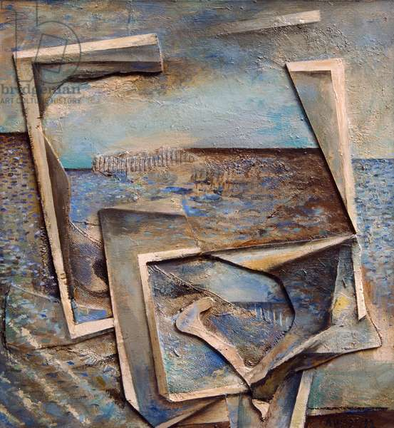 Homage To R.M. Seascape Painting, 1991 (acrylic collage on board)
