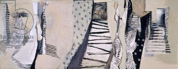 Interior With King And Queen, 1985-1990 (acrylic collage on canvas)