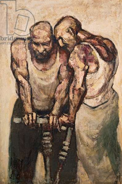 Two Men Drilling, 1958 (oil on board)