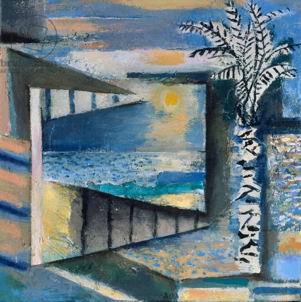 Tree, Window, Sea And Sky, 1992-93 (acrylic collage on canvas)