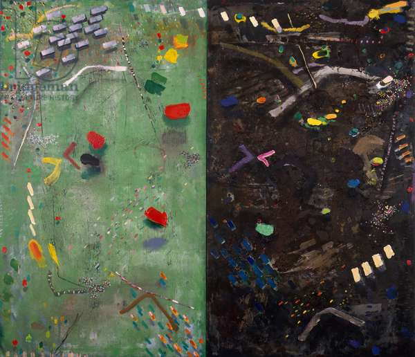 Garden Diptych, 1982 (acrylic collage on board)
