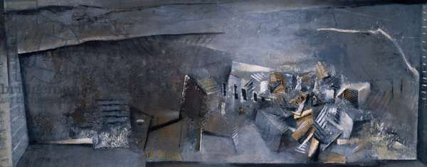 Towards Zamora, 1986-88 (acrylic collage on canvas)