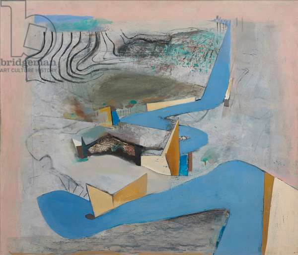 Blue Road Northwards II, 1967 (oil on board)