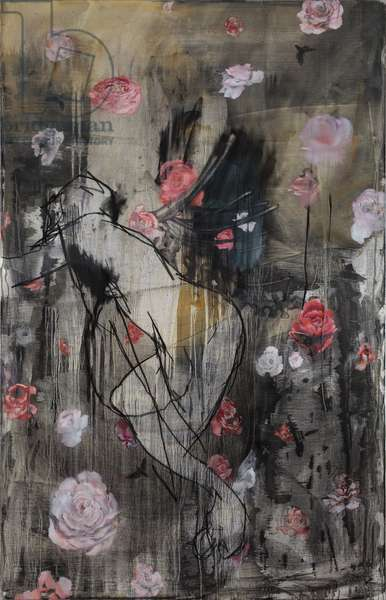 Abduction of Persephone (oil & charcoal on French linen)