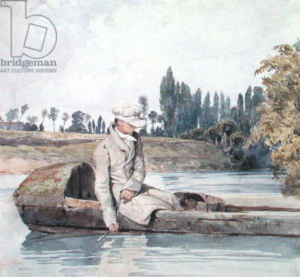 A Man Fishing from a Boat on a River (w/c on paper)