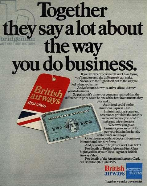 British Airways American Express Magazine, advert, UK, 1970s