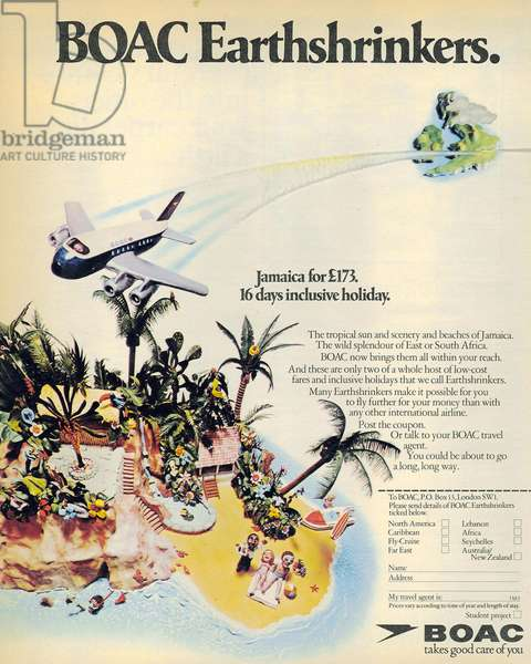 British Airways Magazine, advert, UK, 1970s