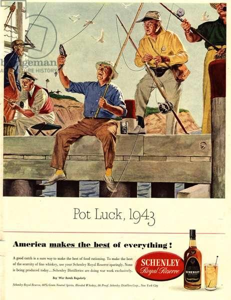 Schenley Whisky Magazine, advert, USA, 1940s