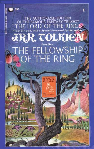 The Lord of the Rings - The Fellowship of the Ring by J.R.R. Tolkien Book Cover, USA, 1980s