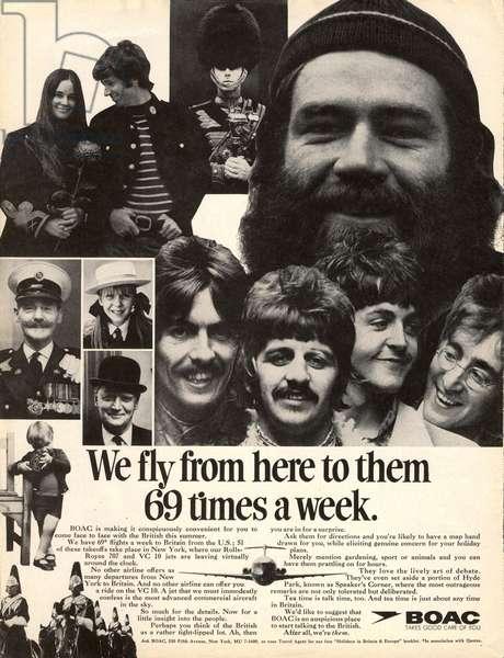 British Airways Magazine, advert, USA, 1960s