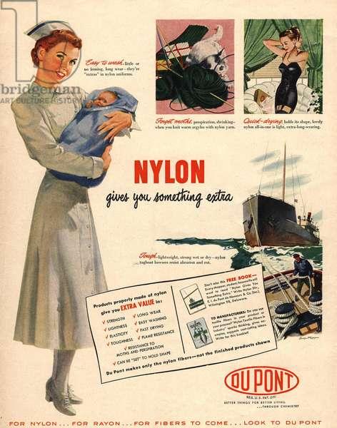 Nylon by DuPont Magazine, advert, USA, 1950s