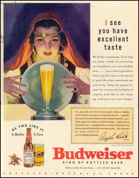Budweiser Magazine Advert, USA, 1930s