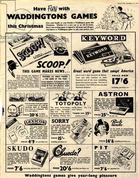 Waddingtons Board Games Magazine, advert, UK, 1950s