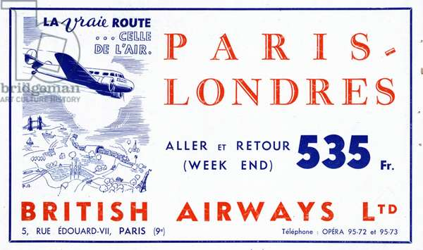 British Airways Magazine, advert, France, 1930s