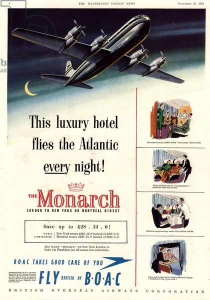British Airways Magazine, advert, UK, 1950s