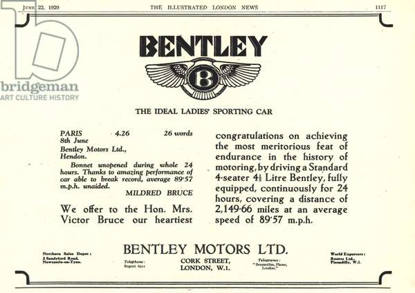 Bentley Magazine, advert, UK, 1920s