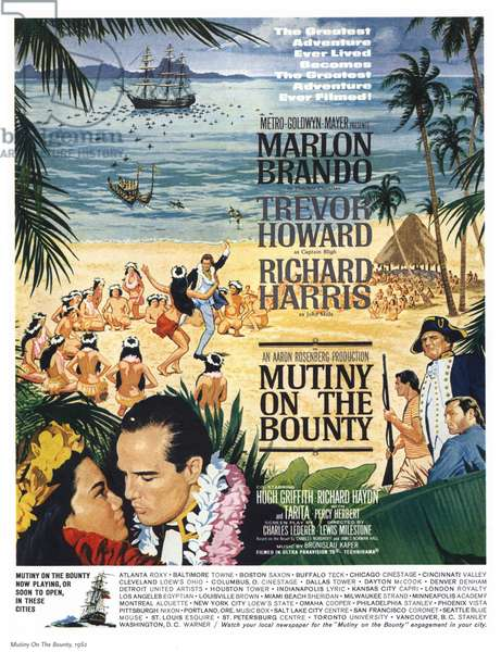 Mutiny On The Bounty Film Poster, USA, 1960s