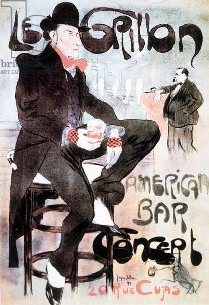 Poster advertisting 'The Cricket, American Bar (Le Grillon, American Bar)', 1899 (colour litho)
