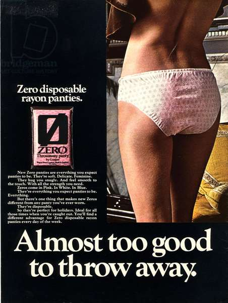 Disposable Panties Magazine, advert, UK, 1960s