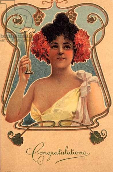 Congratulations Greetings Card, UK, 1890s