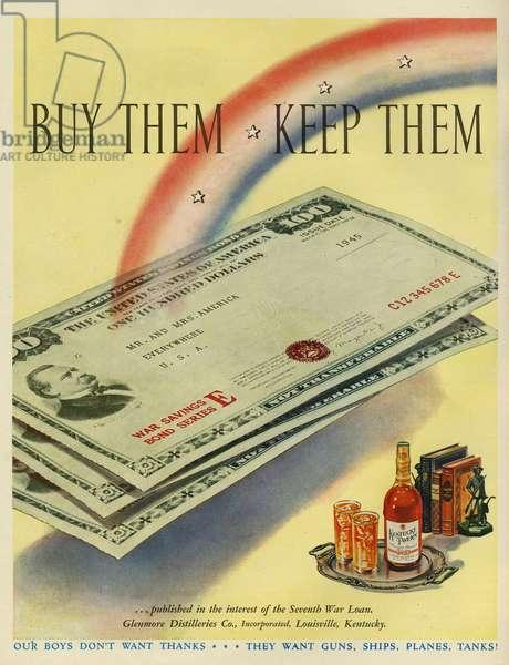 Kentucky Tavern and War Bonds Magazine Advert, USA, 1940s