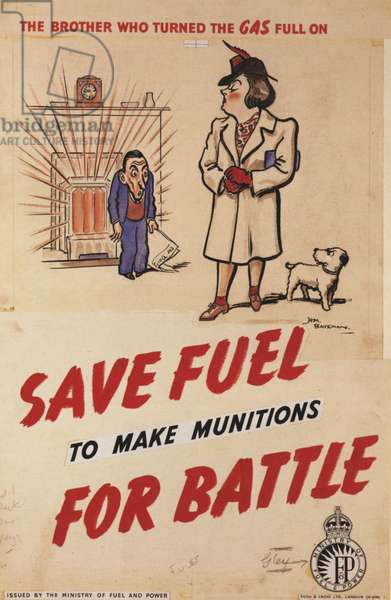 Save Fuel for Battle Poster, UK, 1940s
