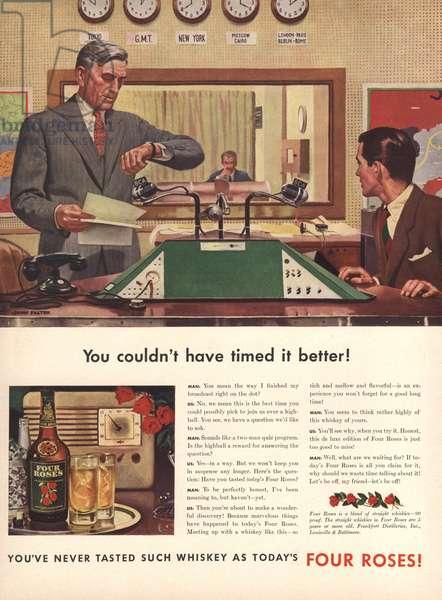 Four Roses Whisky Magazine, advert, USA, 1940s