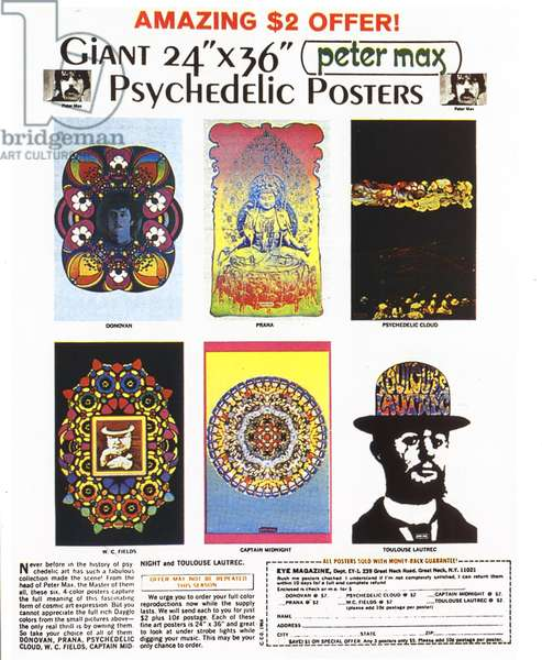 Psychedelic Posters Magazine, advert, USA, 1960s