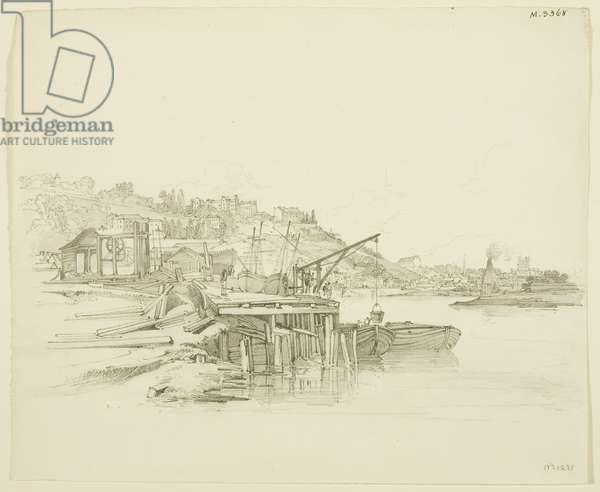 Clifton, Mardyke, and Child's Glasshouse during construction of the Floating Harbour, seen from near the Old Floating Dock, c. 1805 (pencil & wash on paper)