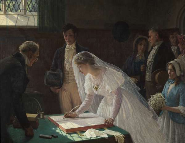 Signing the Register (oil on canvas)